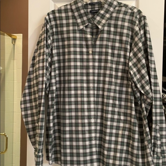 24 w lands end no iron pinpoint Oxford long sl